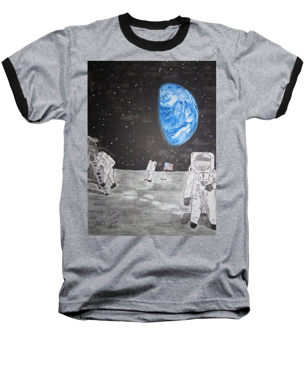 Stars Baseball T-Shirt featuring the painting Man On The Moon by Kathy Marrs Chandler