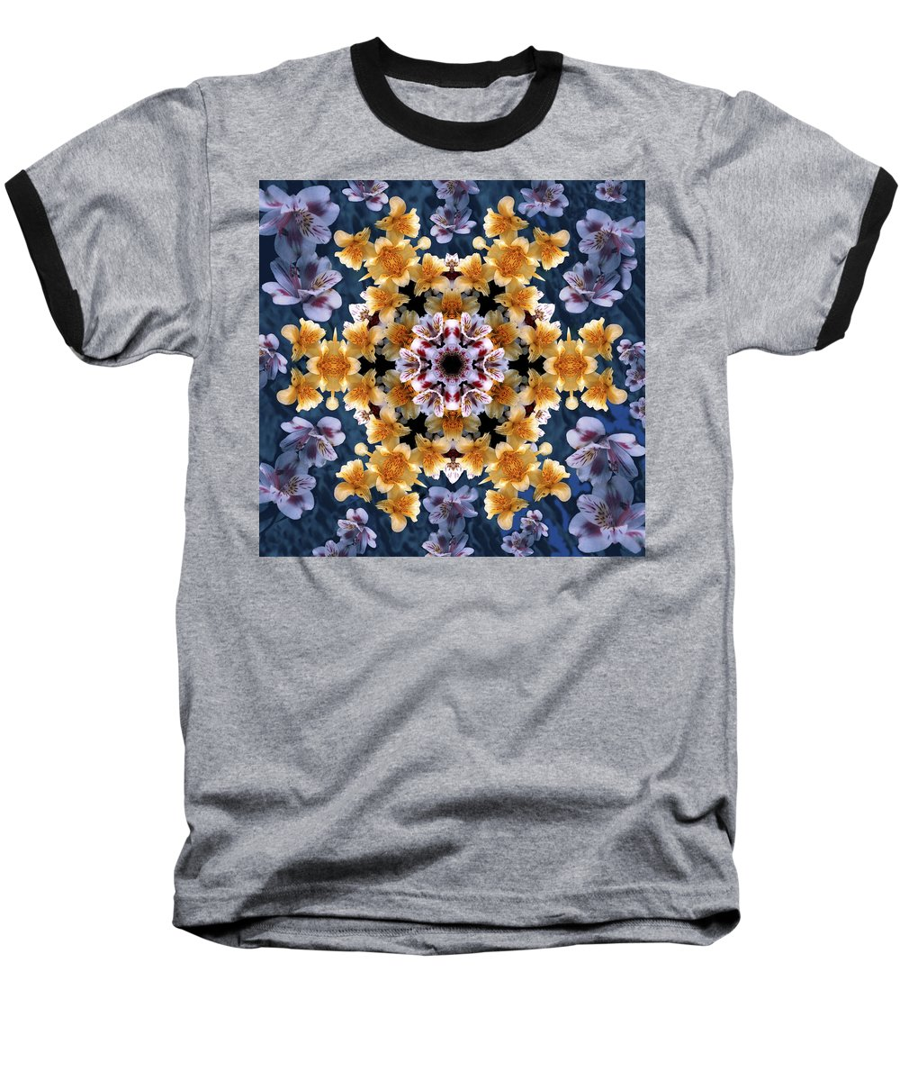 Mandala Baseball T-Shirt featuring the digital art Mandala Alstro by Nancy Griswold