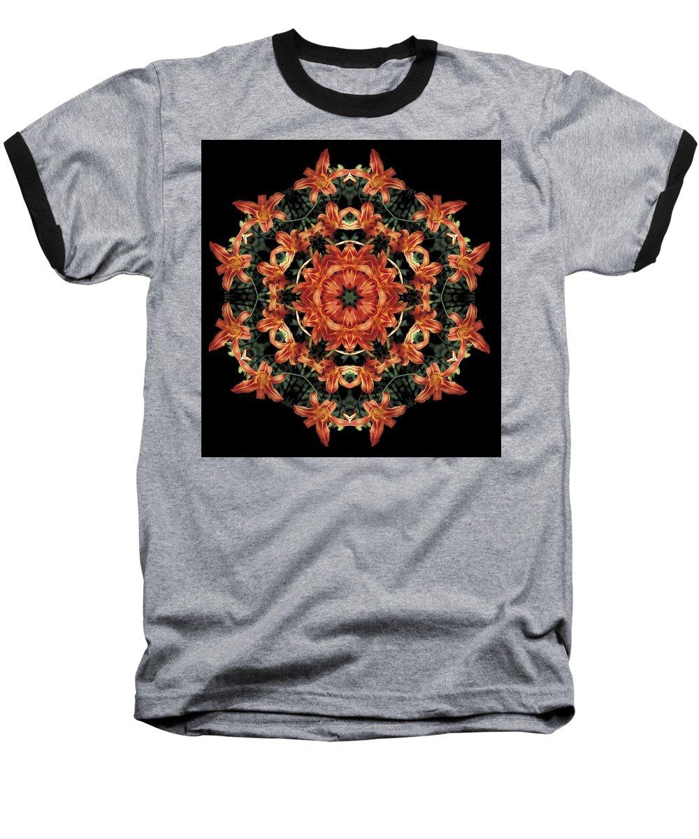 Mandala Baseball T-Shirt featuring the photograph Mandala Daylily by Nancy Griswold