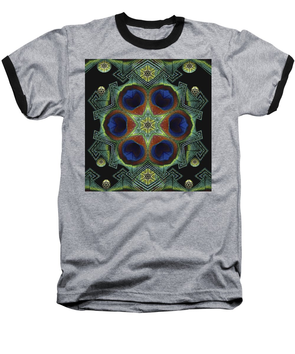 Mandala Baseball T-Shirt featuring the digital art Mandala Peacock by Nancy Griswold
