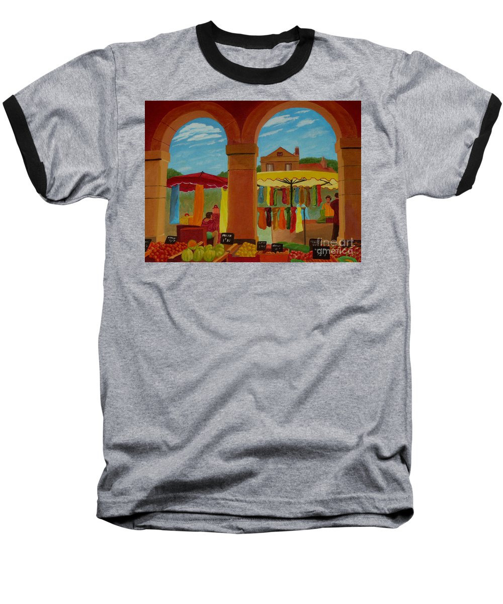 Landscape Baseball T-Shirt featuring the painting Market Day by Anthony Dunphy