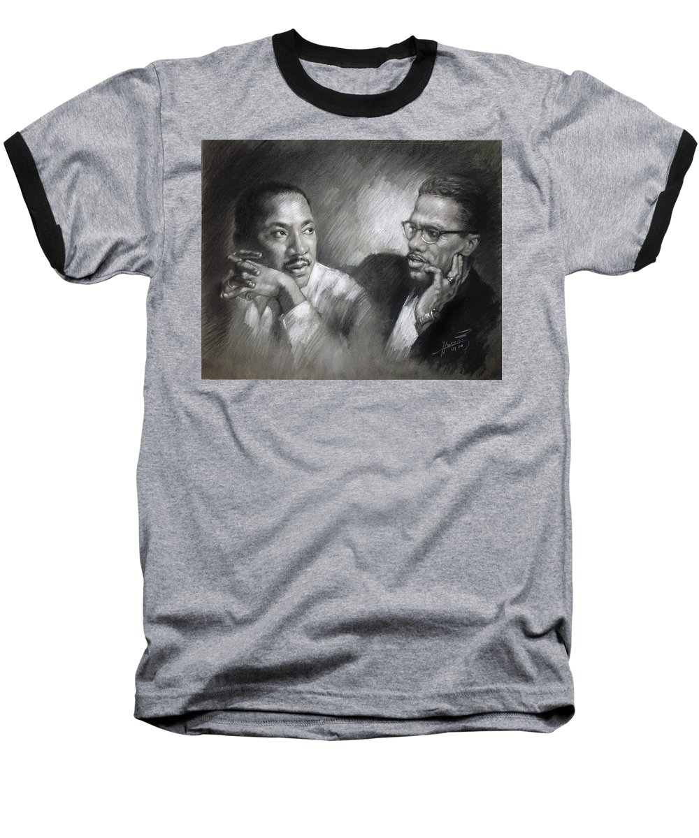 Malcolm X Baseball T-Shirt featuring the drawing Martin Luther King Jr And Malcolm X by Ylli Haruni