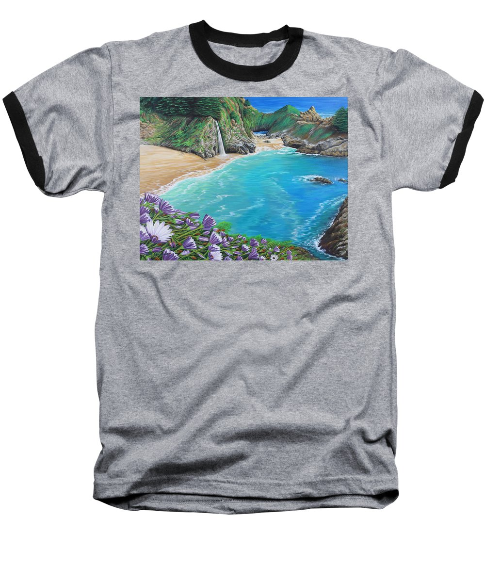 Beach Baseball T-Shirt featuring the painting Mcway Falls by Jane Girardot
