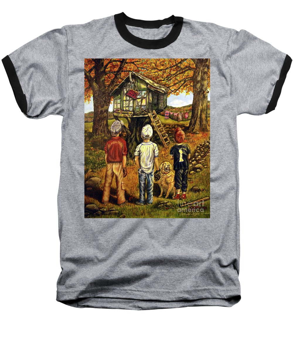 Trees Baseball T-Shirt featuring the painting Meadow Haven by Linda Simon