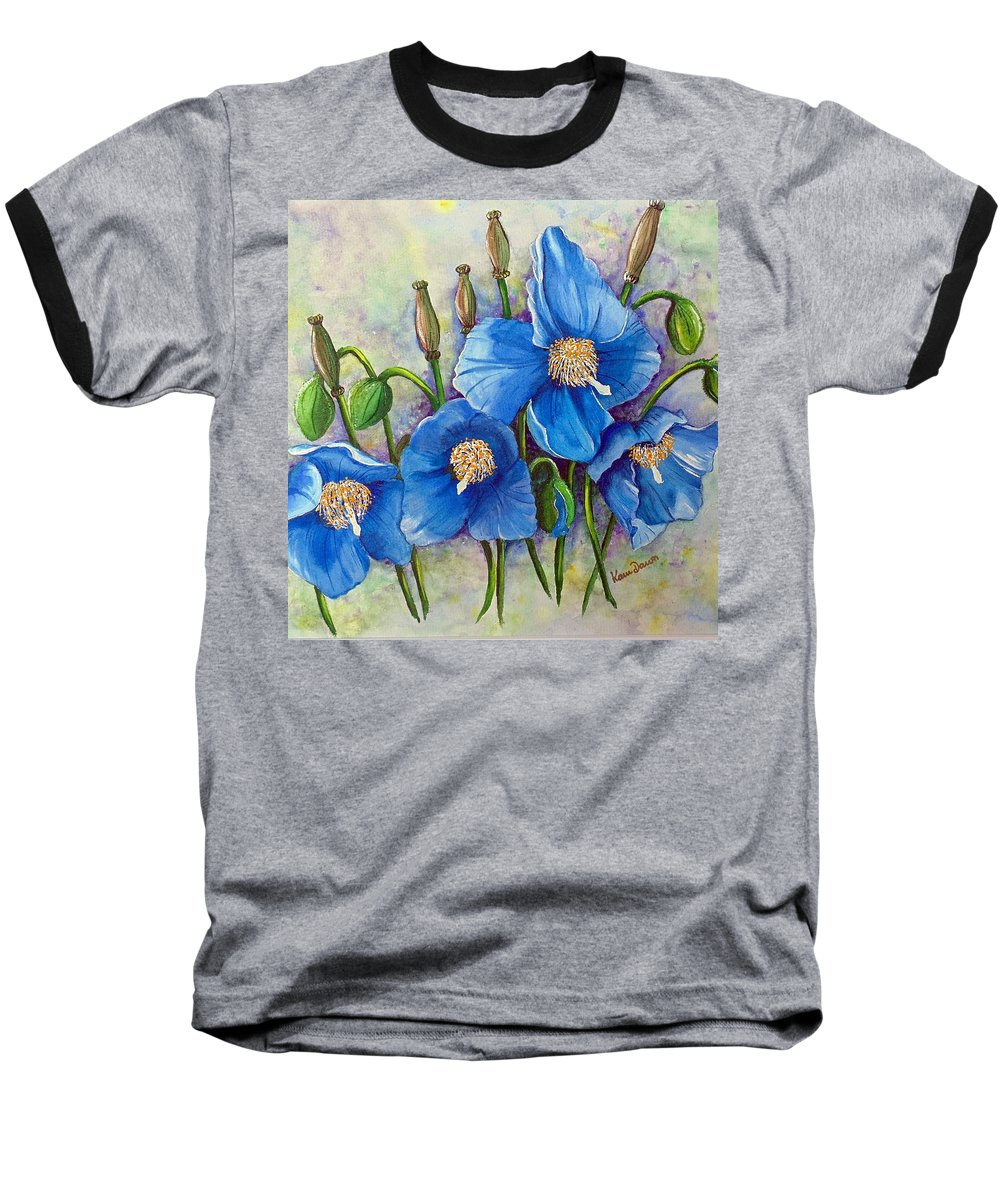 Blue Hymalayan Poppy Baseball T-Shirt featuring the painting Meconopsis  Himalayan Blue Poppy by Karin Dawn Kelshall- Best