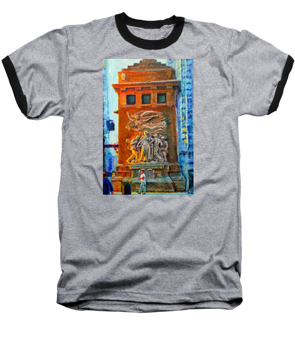 Chicago Baseball T-Shirt featuring the painting Michigan Avenue Bridge by Michael Durst