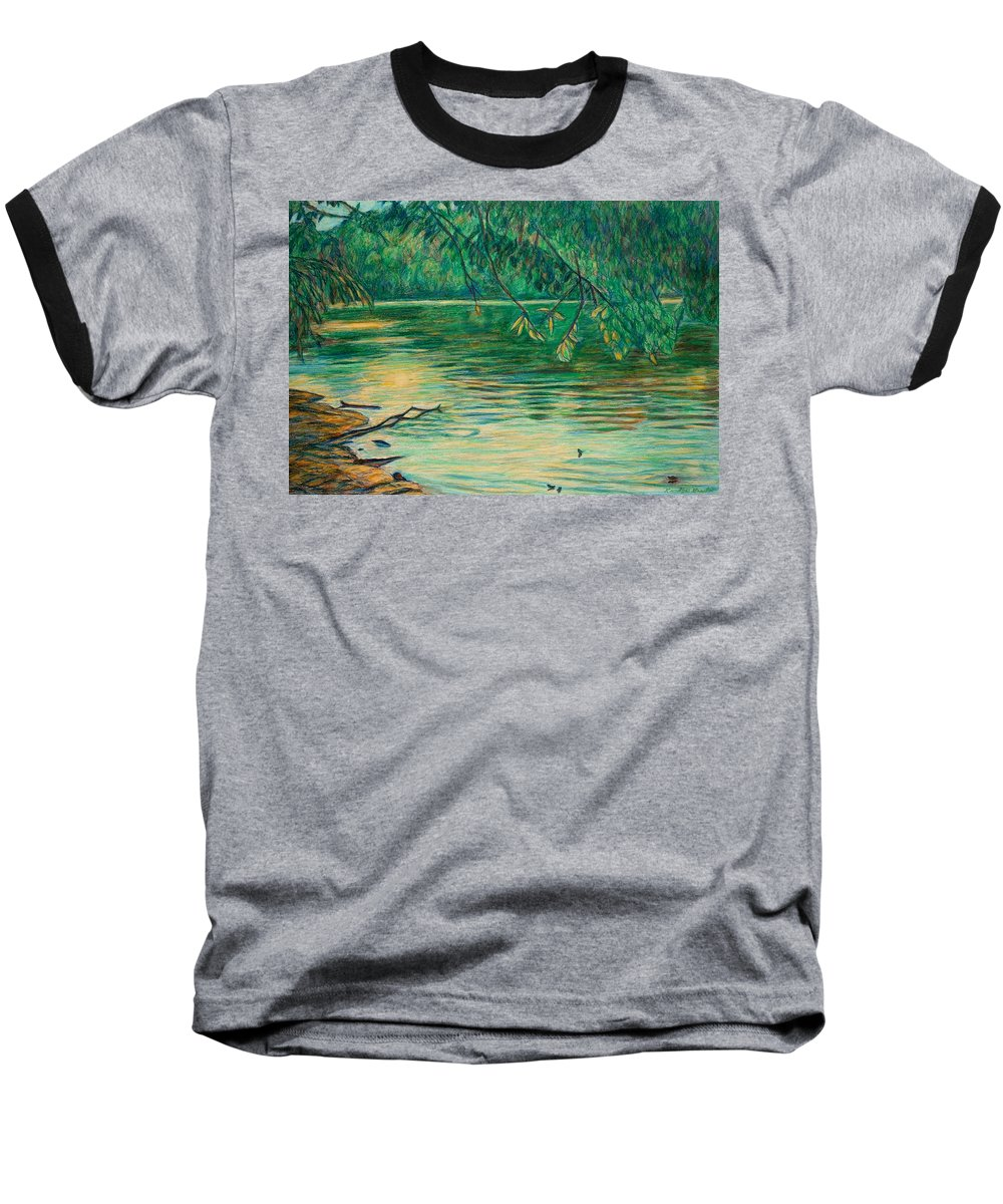 Landscape Baseball T-Shirt featuring the painting Mid-spring On The New River by Kendall Kessler