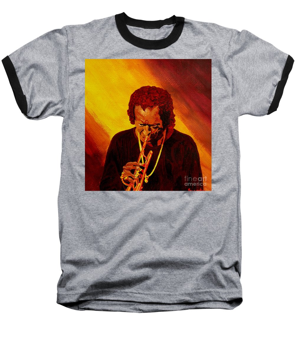 Miles Davis Baseball T-Shirt featuring the painting Miles Davis Jazz Man by Anthony Dunphy