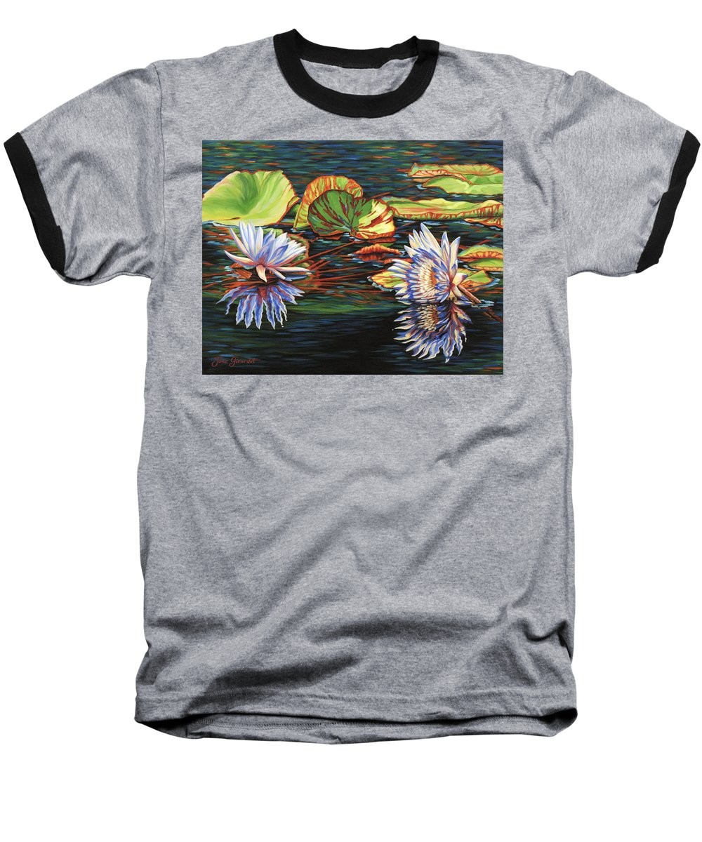 Lily Lilies Water Pond Pad Flower Flowers Floral Lake Baseball T-Shirt featuring the painting Mirrored Lilies by Jane Girardot
