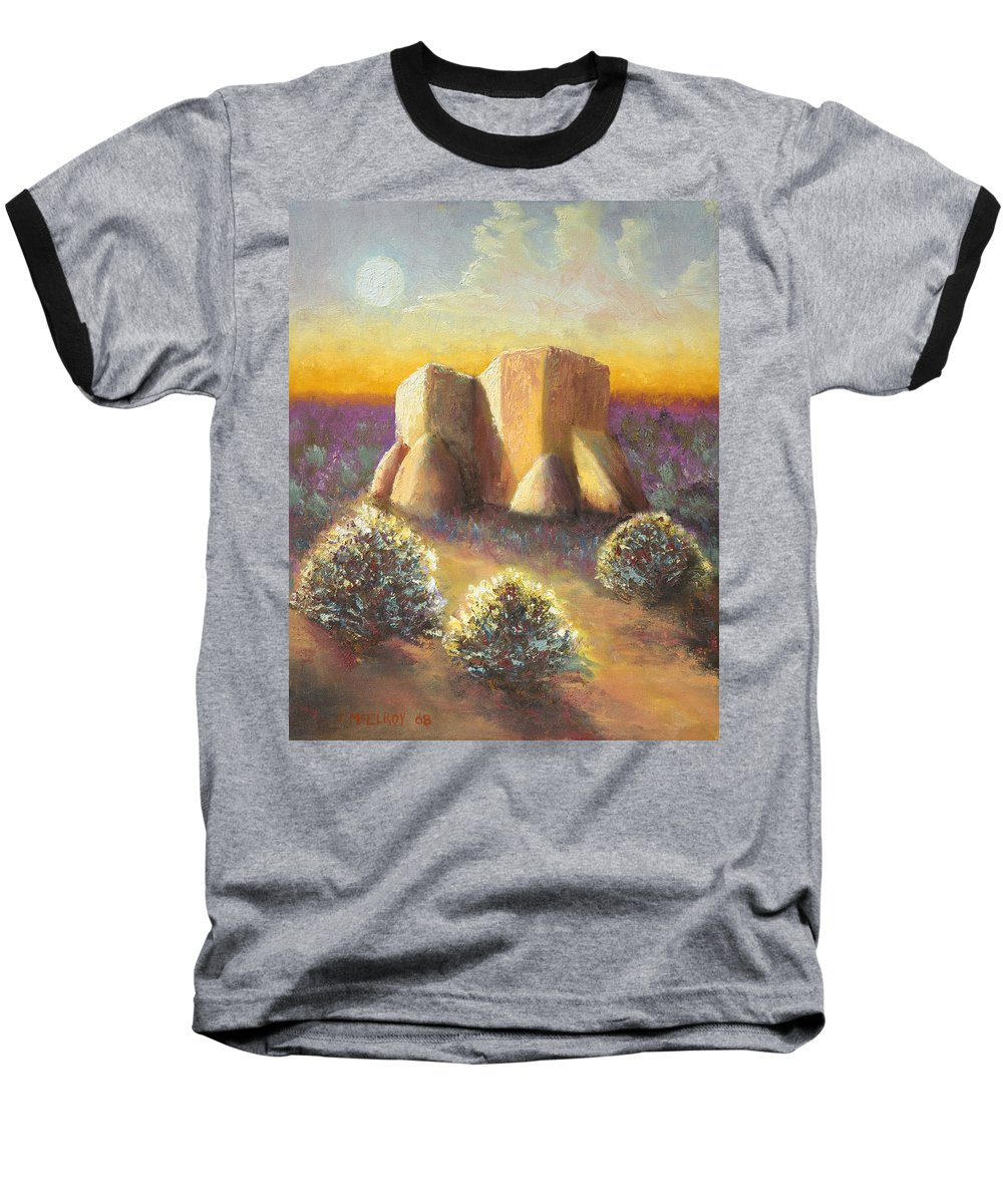 Landscape Baseball T-Shirt featuring the painting Mission Imagined by Jerry McElroy