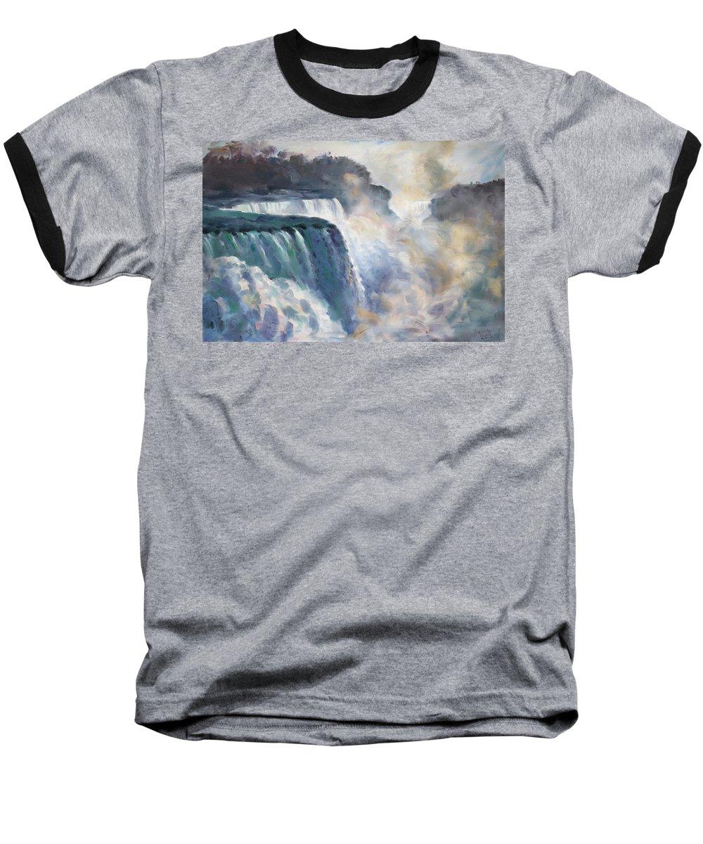 Niagara Falls Baseball T-Shirt featuring the painting Misty Niagara Falls by Ylli Haruni