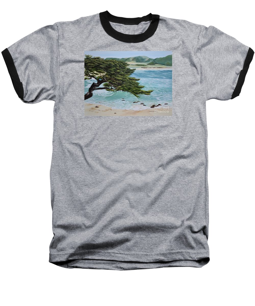 Beach Baseball T-Shirt featuring the painting Monastery Beach by Mary Rogers