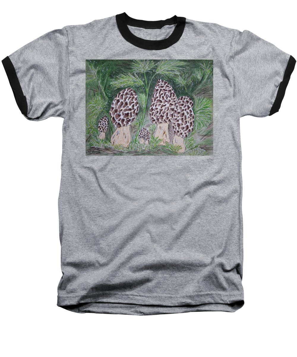 Morel Baseball T-Shirt featuring the painting Morel Mushrooms by Kathy Marrs Chandler