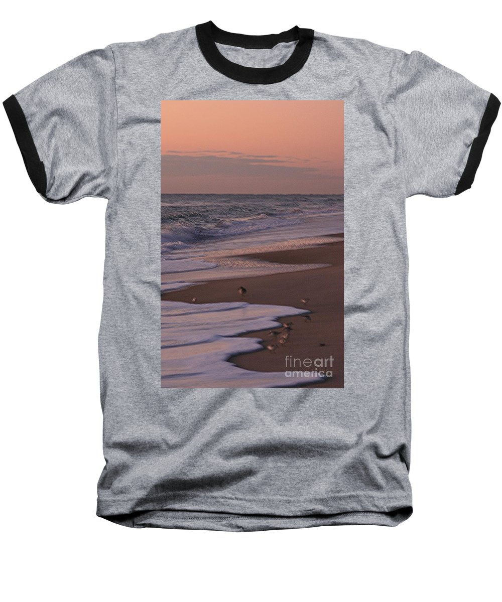 Beach Baseball T-Shirt featuring the photograph Morning Birds At The Beach by Nadine Rippelmeyer