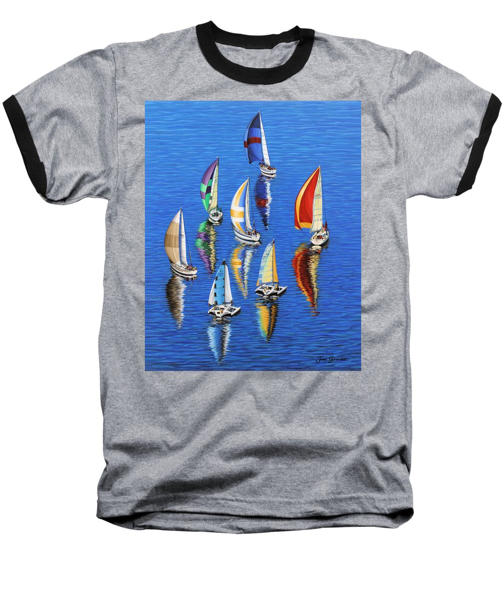 Ocean Baseball T-Shirt featuring the painting Morning Reflections by Jane Girardot