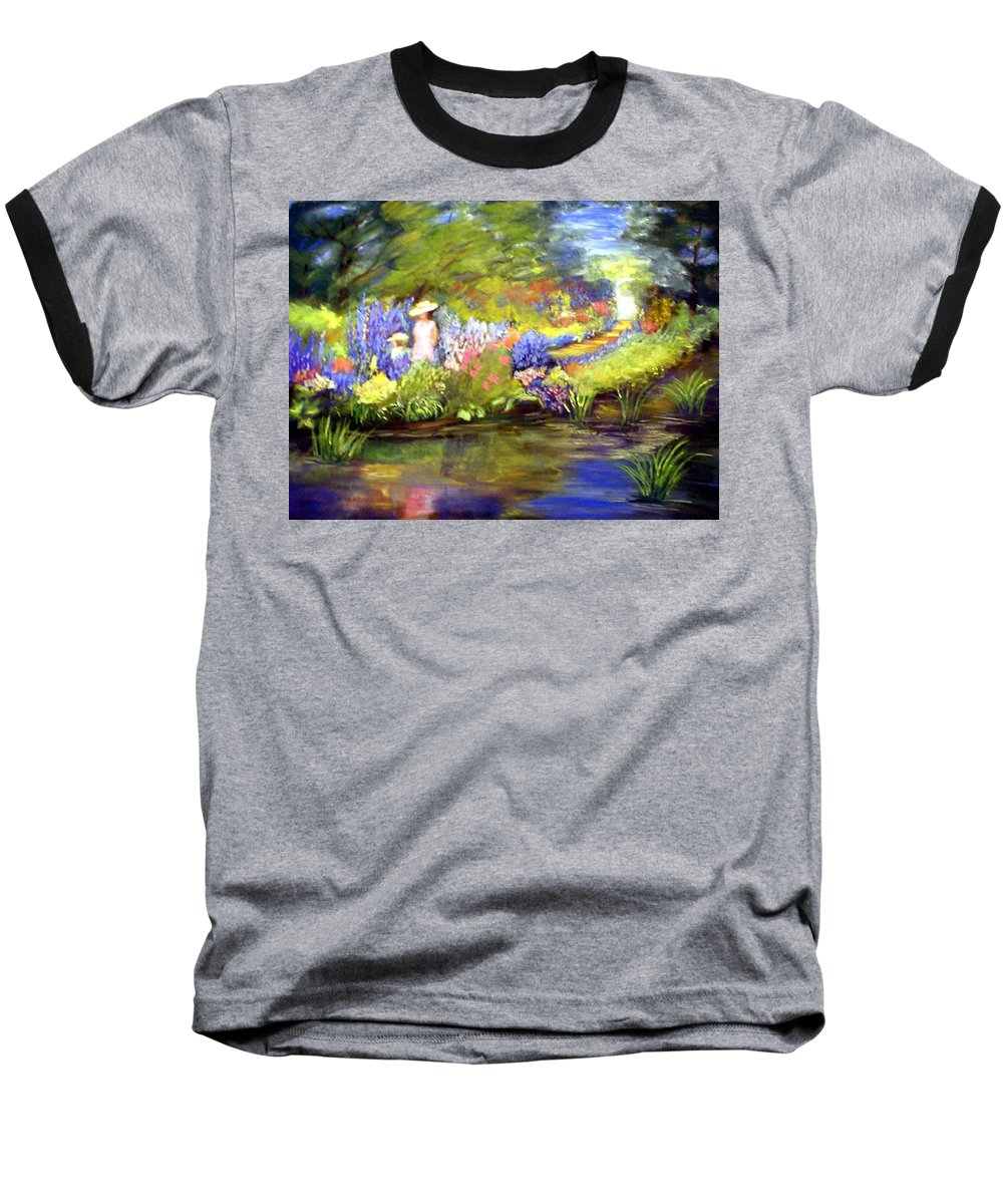 Flower Garden Baseball T-Shirt featuring the painting Mother And Daughter by Gail Kirtz