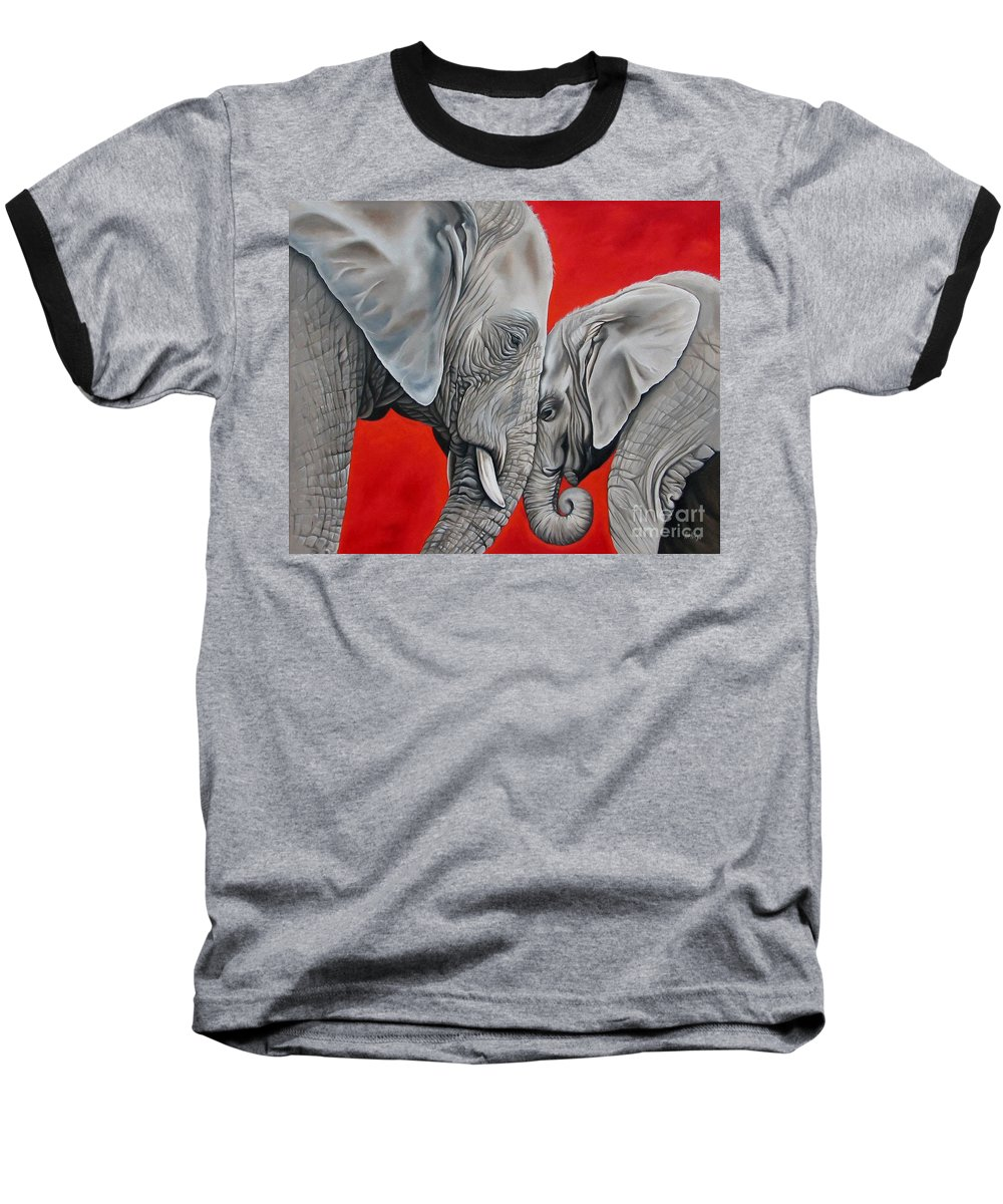 Elephant Baseball T-Shirt featuring the painting Mothers Love by Ilse Kleyn