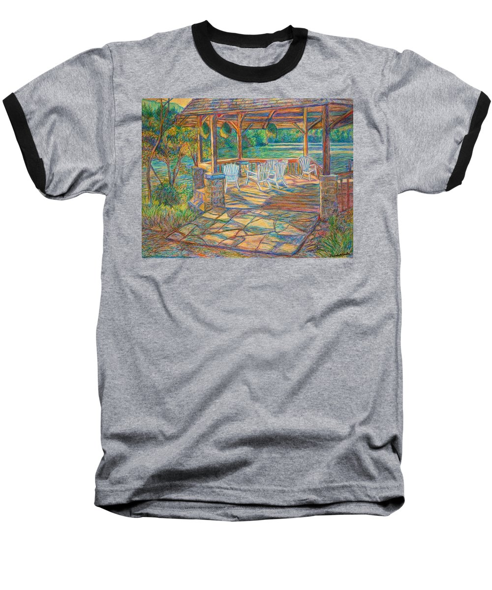 Lake Baseball T-Shirt featuring the painting Mountain Lake Shadows by Kendall Kessler