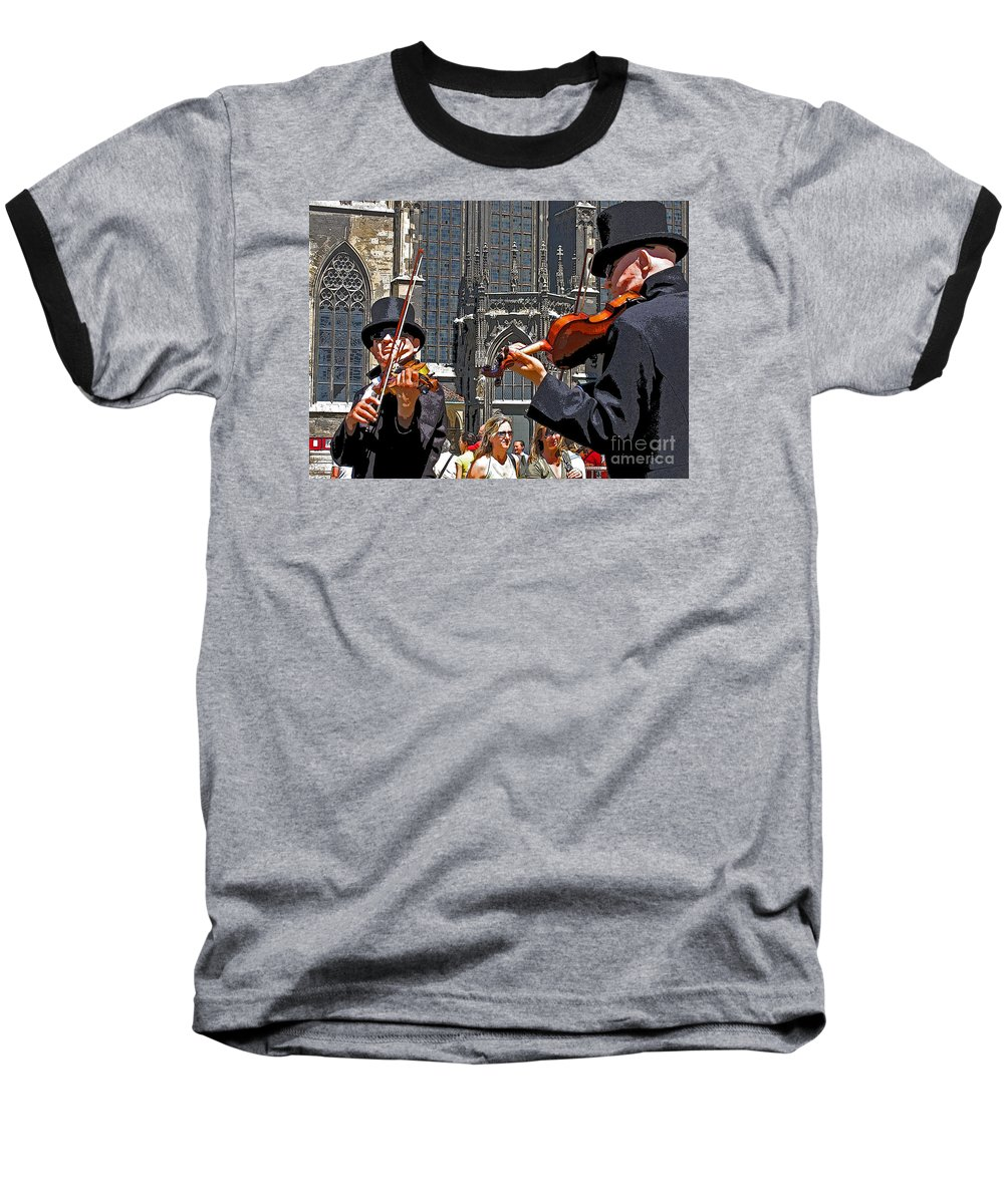Buskers Baseball T-Shirt featuring the photograph Mozart In Masquerade by Ann Horn