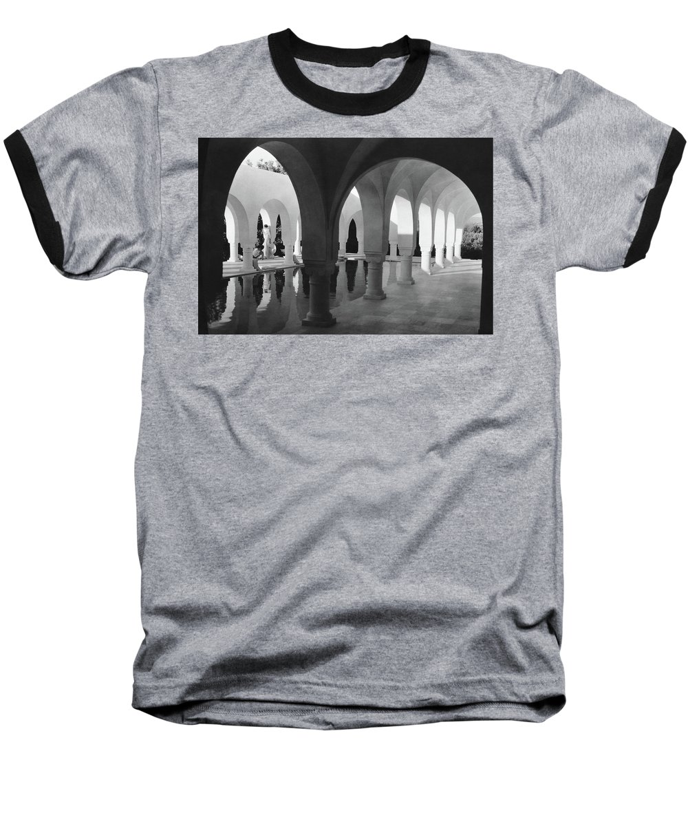 Exterior Baseball T-Shirt featuring the photograph Mr George Sebastian And His Wife Next by George Hoyningen-Huene
