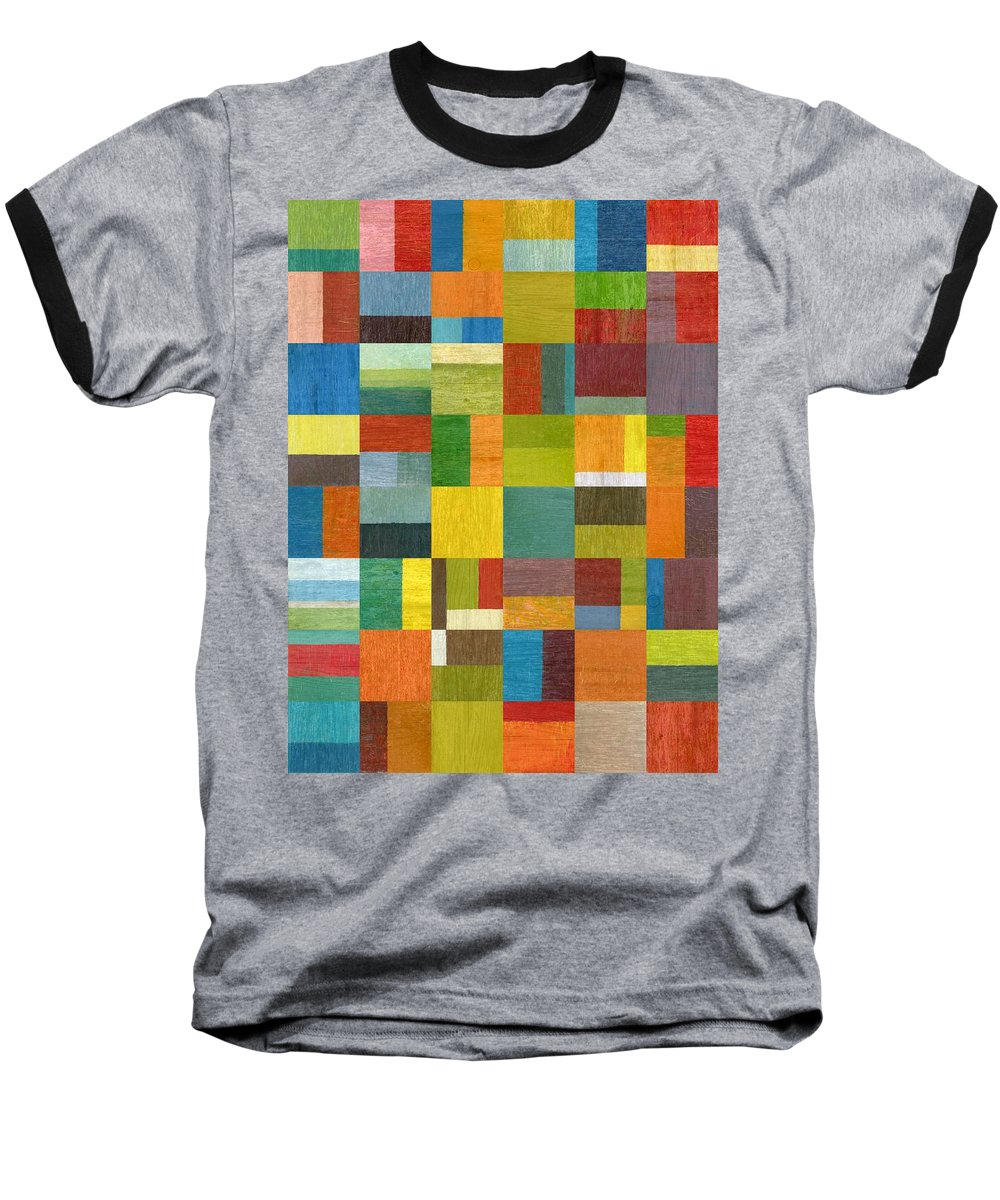 Abstract Baseball T-Shirt featuring the painting Multiple Exposures Lv by Michelle Calkins