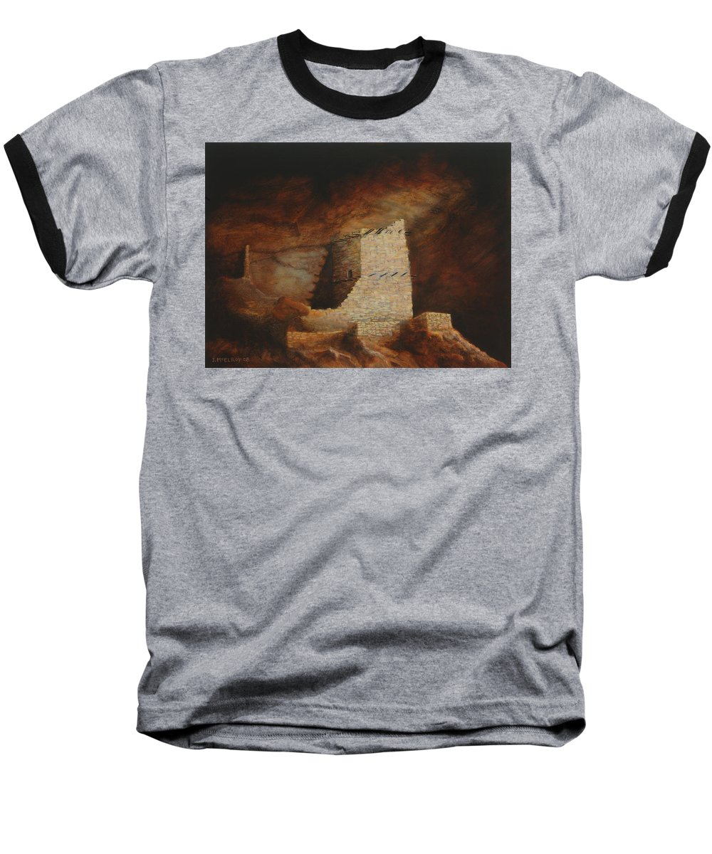 Anasazi Baseball T-Shirt featuring the painting Mummy Cave by Jerry McElroy