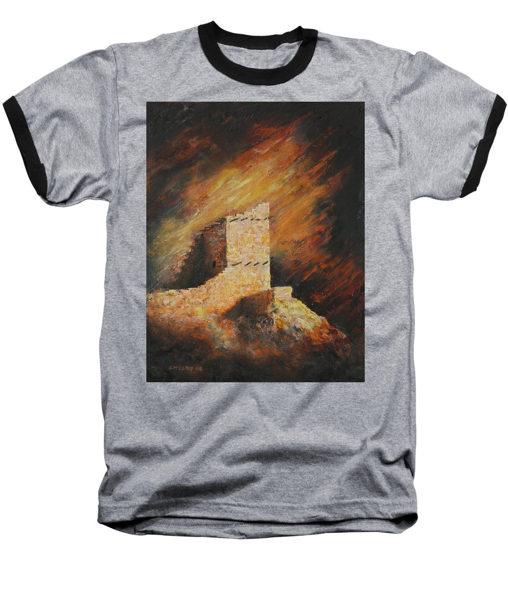 Anasazi Baseball T-Shirt featuring the painting Mummy Cave Ruins 2 by Jerry McElroy