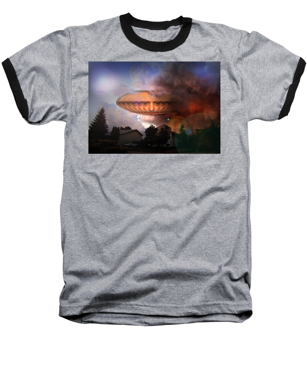 Surrealism Baseball T-Shirt featuring the digital art Mystic Ufo by Otto Rapp