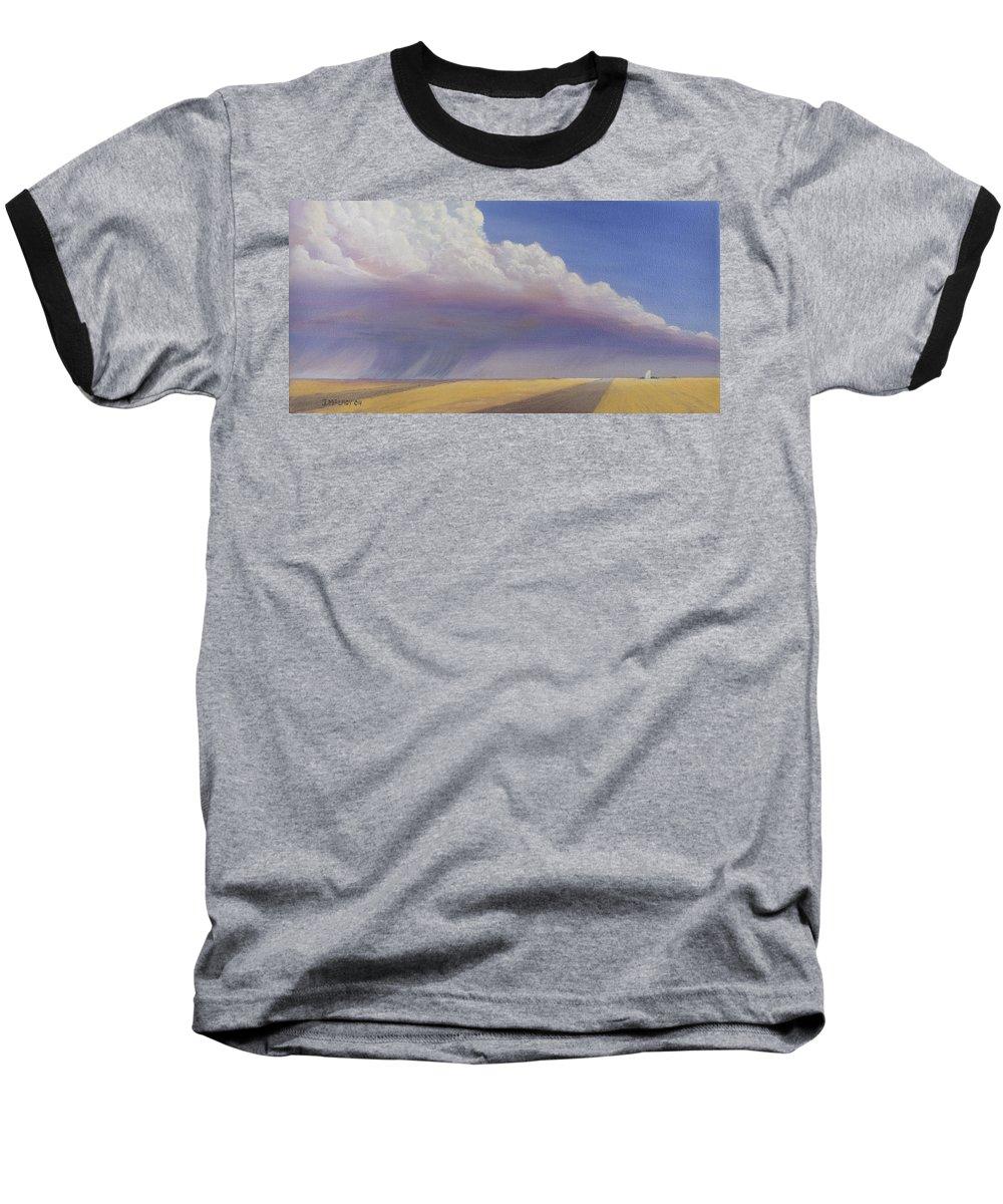 Landscape Baseball T-Shirt featuring the painting Nebraska Vista by Jerry McElroy