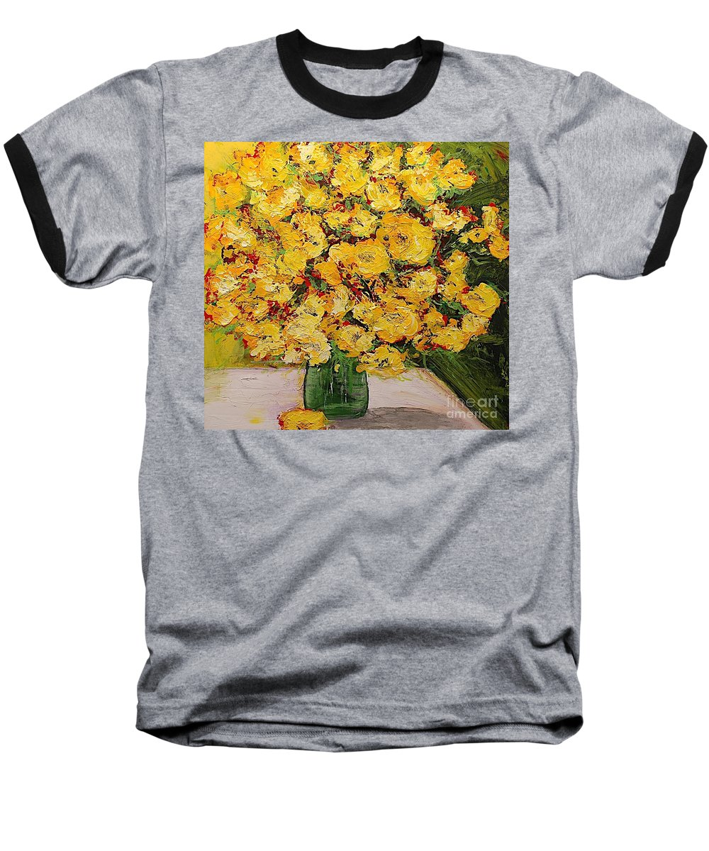 Landscape Baseball T-Shirt featuring the painting New Beginnings by Allan P Friedlander