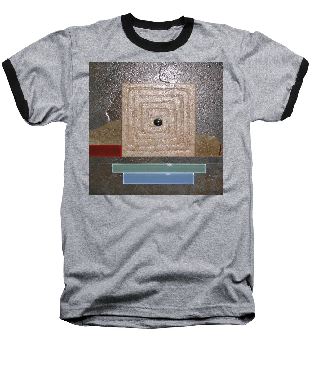 Assemblage Baseball T-Shirt featuring the relief New Moon by Elaine Booth-Kallweit