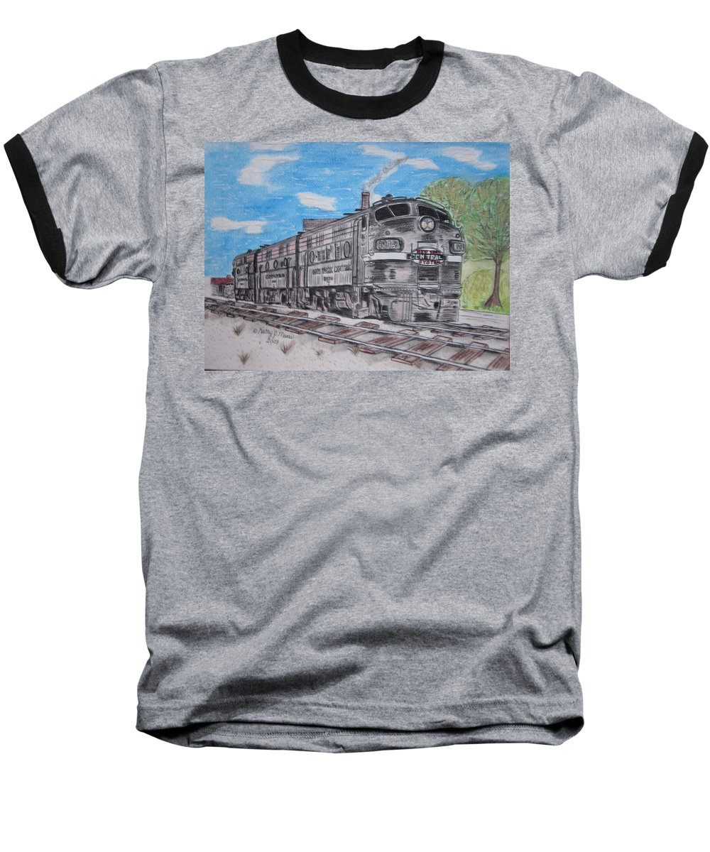 New York Baseball T-Shirt featuring the painting New York Central Train by Kathy Marrs Chandler