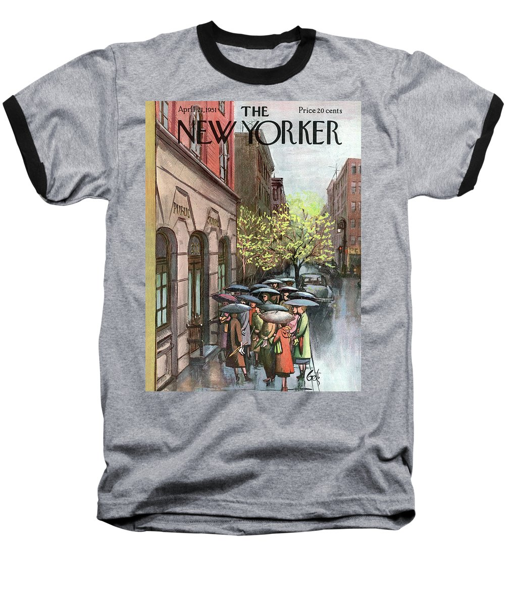 Urban Baseball T-Shirt featuring the painting New Yorker April 21st, 1951 by Arthur Getz