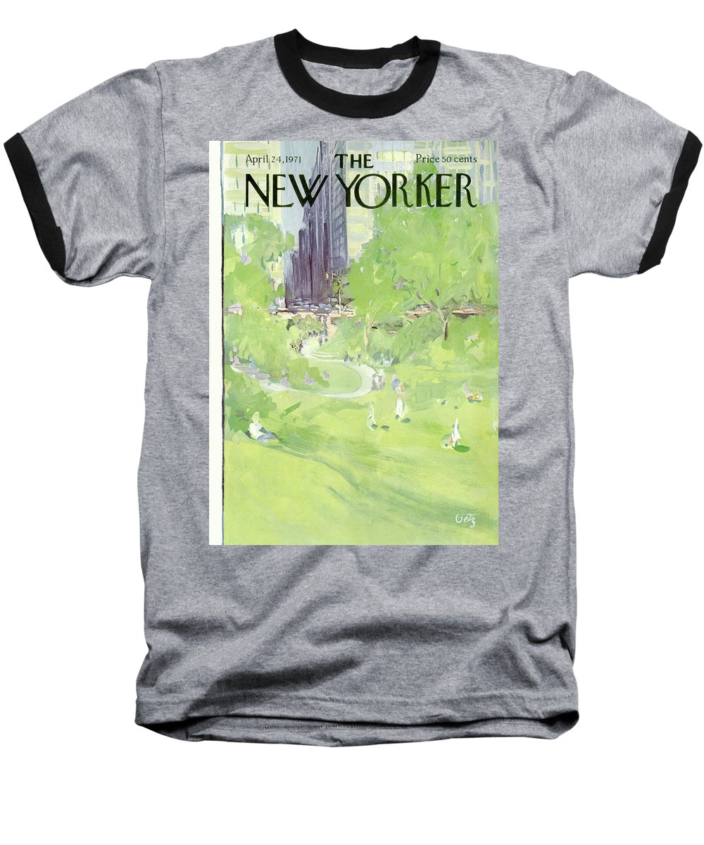 Urban Baseball T-Shirt featuring the painting New Yorker April 24th, 1971 by Arthur Getz