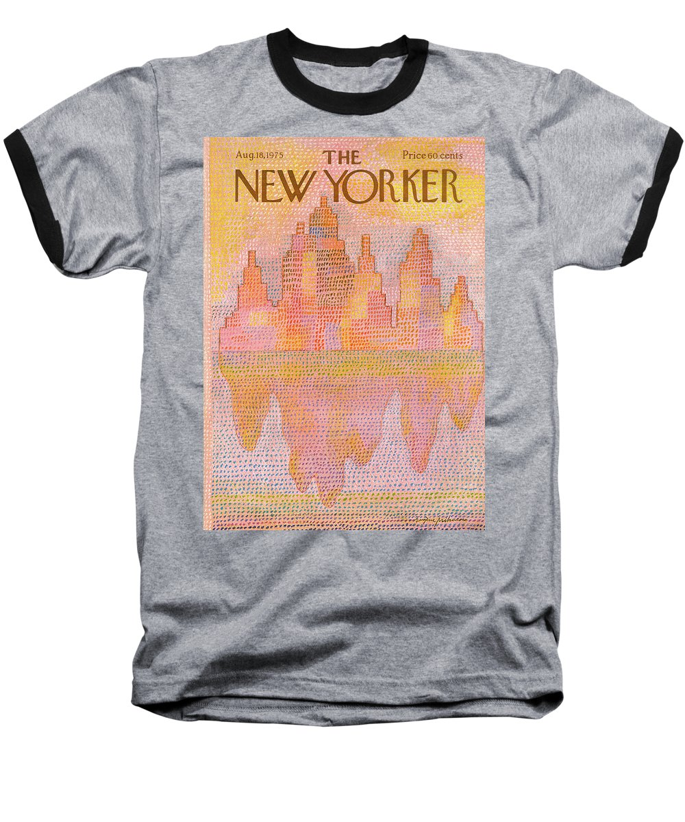 Heat Baseball T-Shirt featuring the painting New Yorker August 18th, 1975 by Eugene Mihaesco