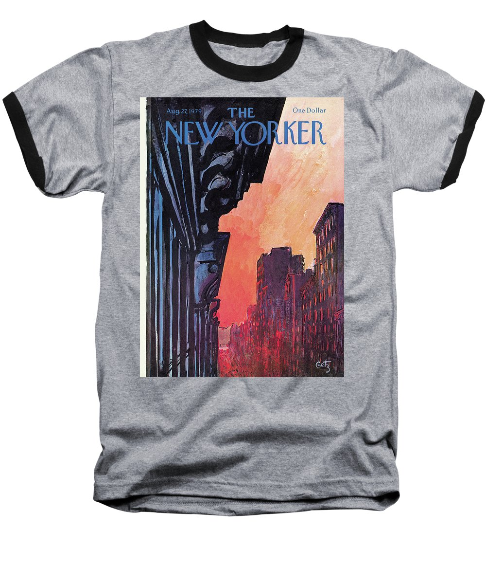 Urban Baseball T-Shirt featuring the painting New Yorker August 27th, 1979 by Arthur Getz
