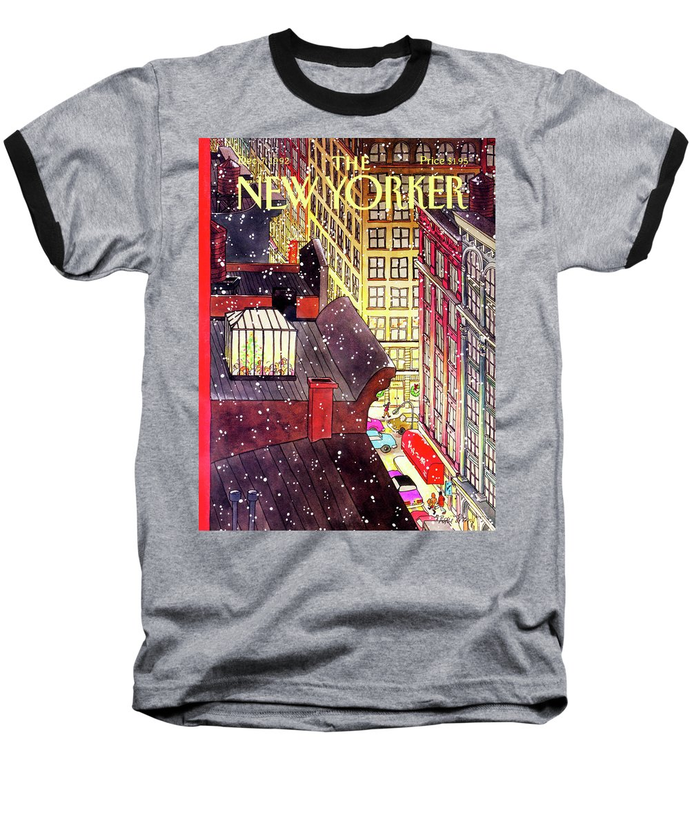 A Birds-eye View Of A Busy Shopping Evening Downtown. Snow Begins To Fall On The Rooftops Where One Sunroof Is Illuminated By A Crowd Gathered Around A Christmas Tree. Baseball T-Shirt featuring the painting New Yorker December 7th, 1992 by Roxie Munro