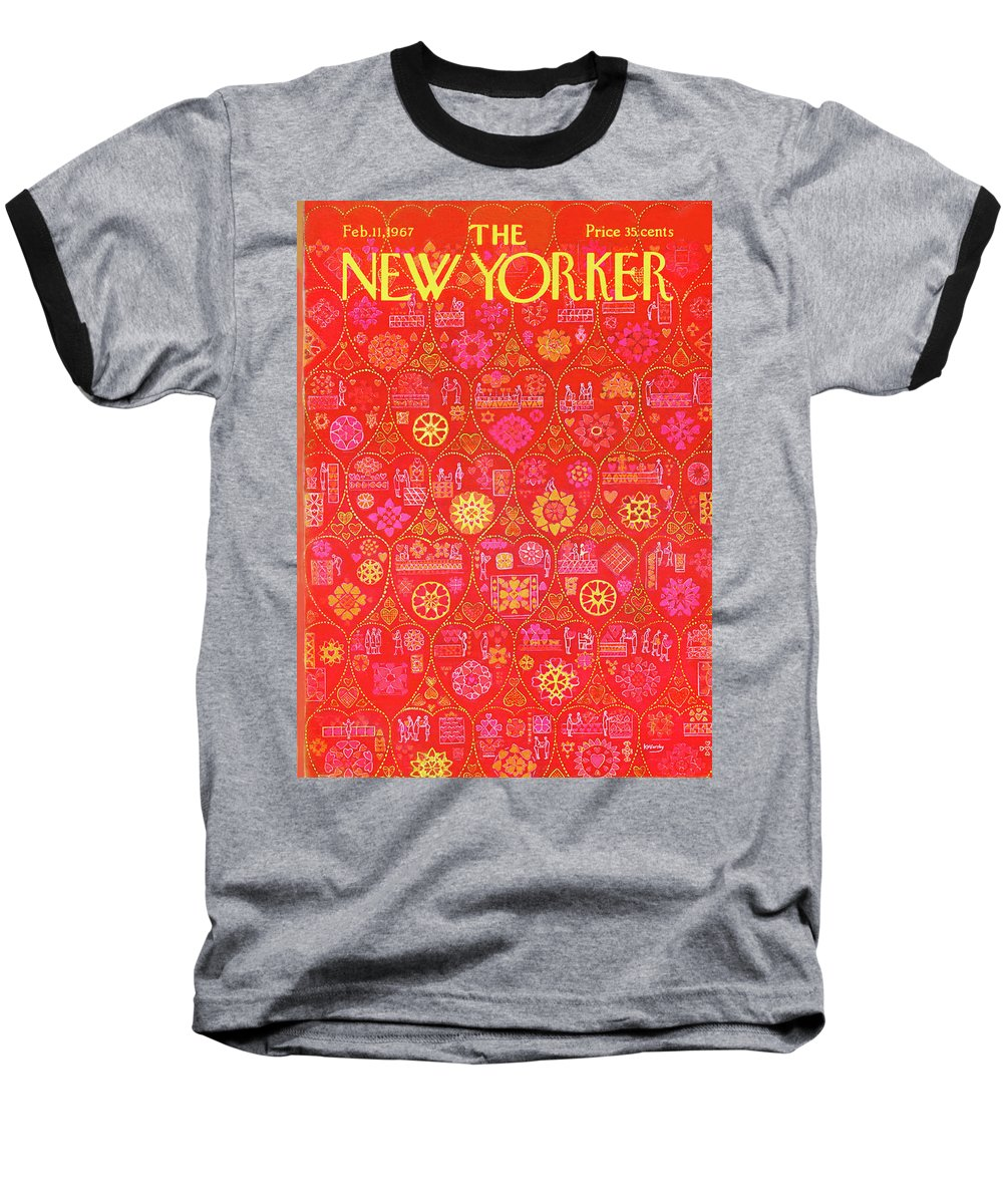 Holiday Baseball T-Shirt featuring the painting New Yorker February 11th, 1967 by Anatol Kovarsky