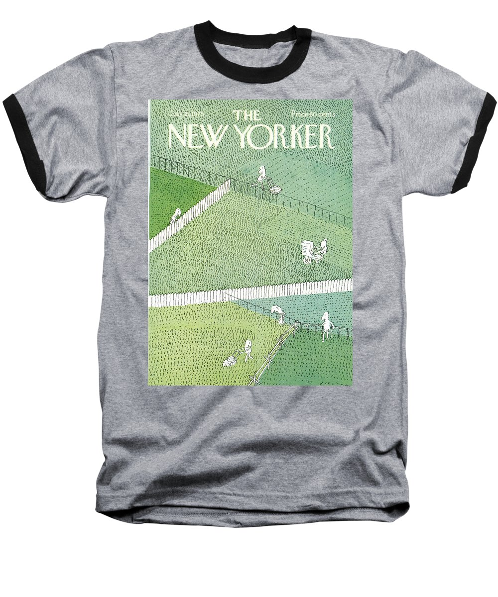 R.o. Blechman Rbl Baseball T-Shirt featuring the painting New Yorker July 21st, 1975 by RO Blechman