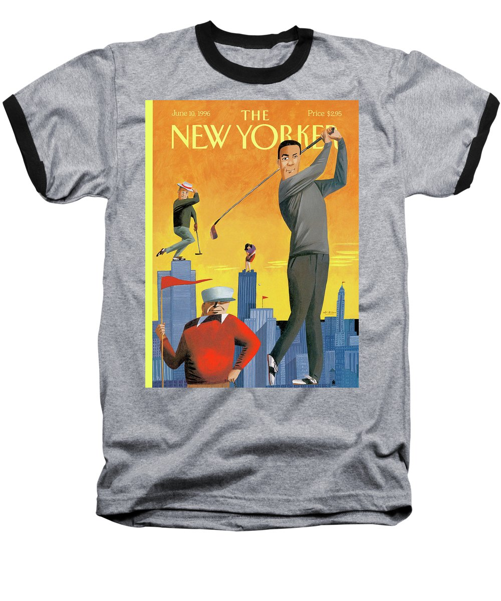 Tee Time Baseball T-Shirt featuring the painting New Yorker June 10th, 1996 by Mark Ulriksen