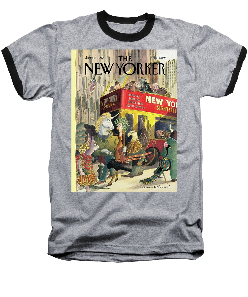 Walkers And Gawkers Artkey 50905 Eso Edward Sorel Baseball T-Shirt featuring the painting New Yorker June 16th, 1997 by Edward Sorel