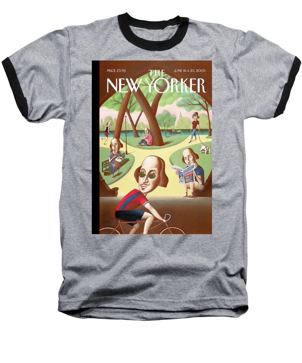 Mark Ulriksen Mul Baseball T-Shirt featuring the painting New Yorker June 16th, 2003 by Mark Ulriksen