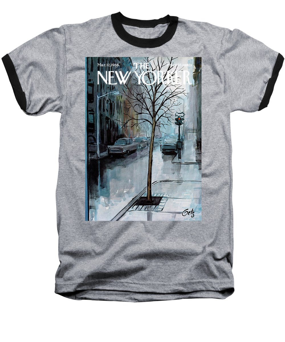 Rain Baseball T-Shirt featuring the painting New Yorker March 12th, 1966 by Arthur Getz