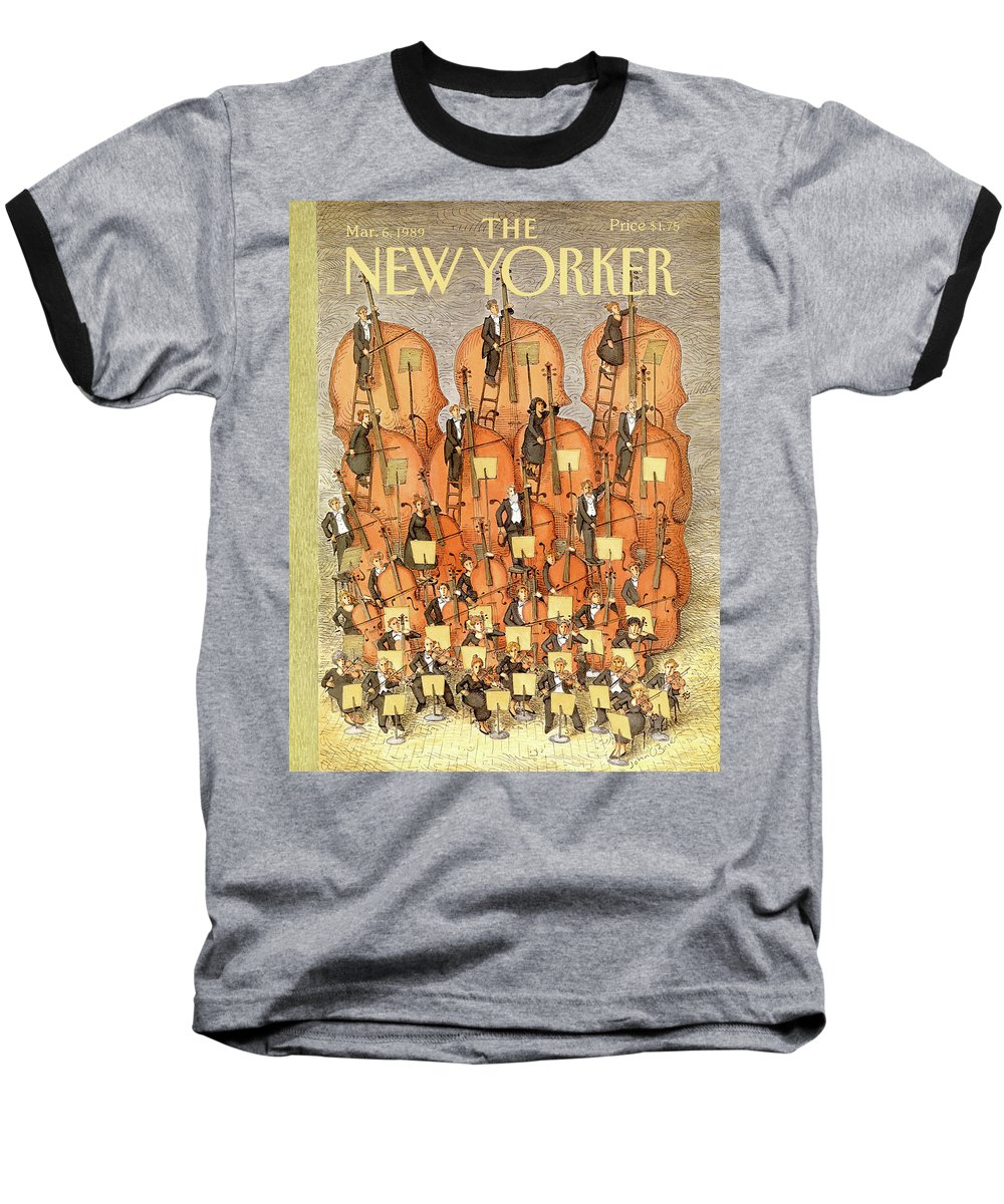 (an Orchestra Plays String Instruments That Increase In Size From The Front Row To The Back.) Entertainment Baseball T-Shirt featuring the painting New Yorker March 6th, 1989 by John O'Brien