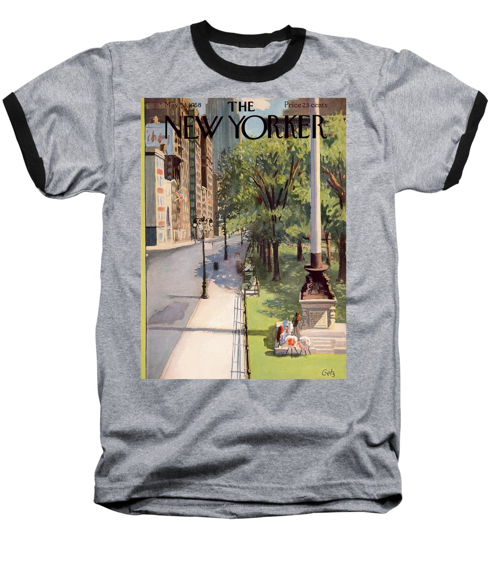 Arthur Getz Agt Baseball T-Shirt featuring the painting New Yorker May 31st, 1958 by Arthur Getz