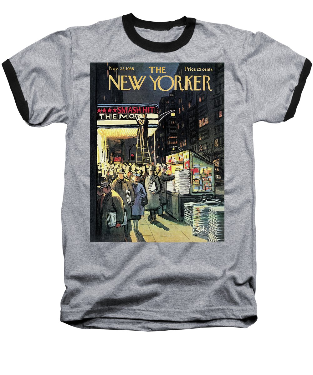 Entertainment Baseball T-Shirt featuring the painting New Yorker November 22nd, 1958 by Arthur Getz