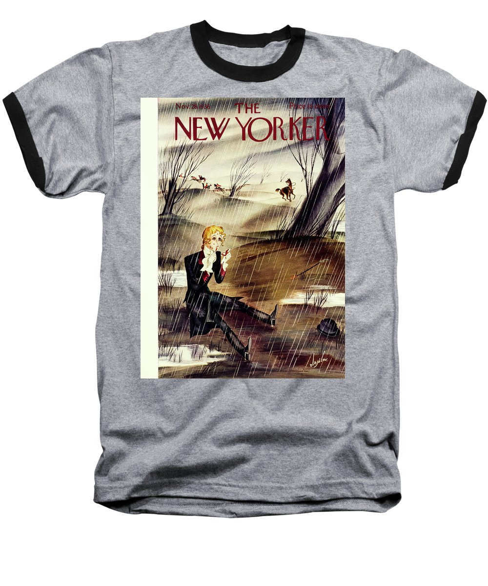 Animal Baseball T-Shirt featuring the painting New Yorker November 28 1936 by Constantin Alajalov