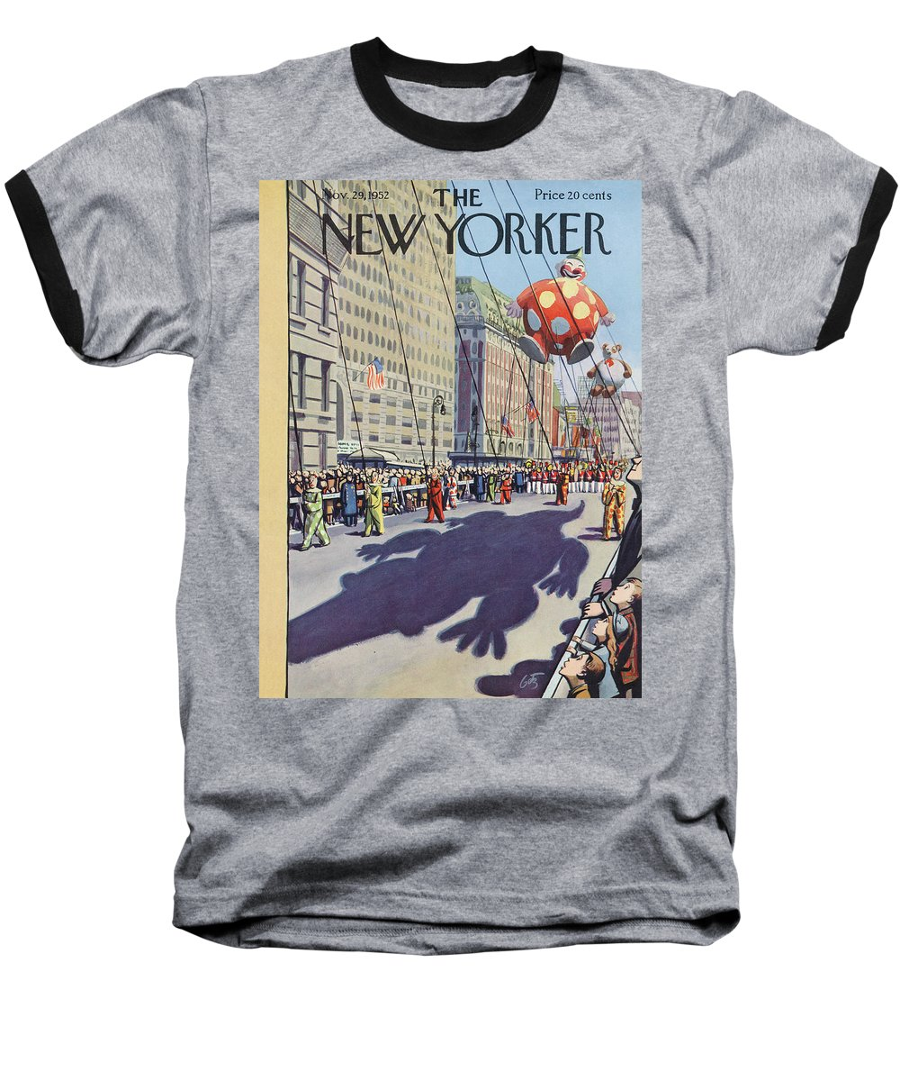Party Baseball T-Shirt featuring the painting New Yorker November 29th, 1952 by Arthur Getz