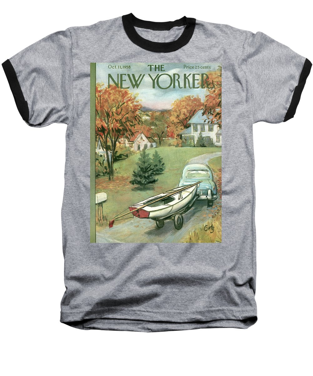 Arthur Getz Agt Baseball T-Shirt featuring the painting New Yorker October 11th, 1958 by Arthur Getz