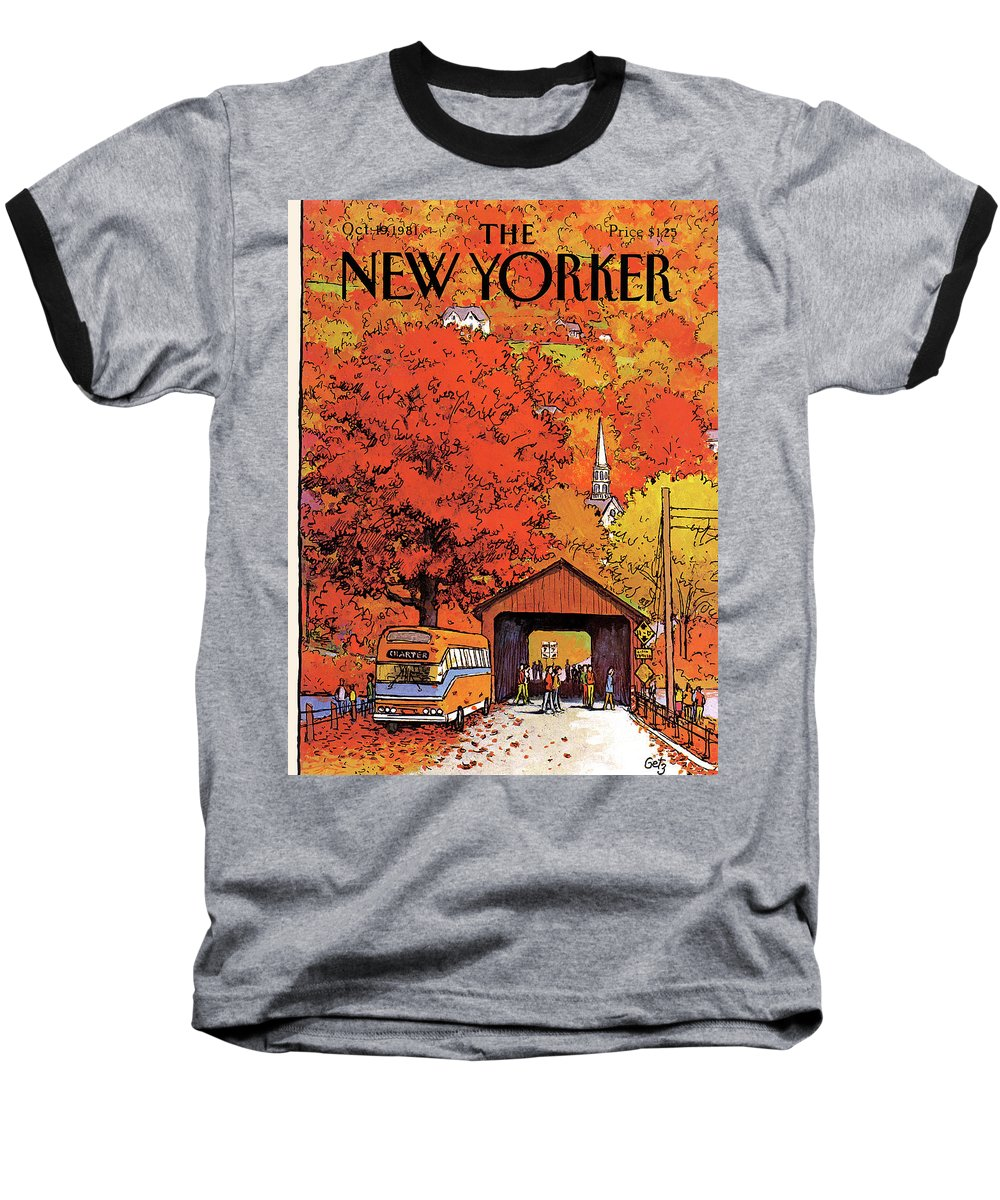 Season Baseball T-Shirt featuring the painting New Yorker October 19th, 1981 by Arthur Getz